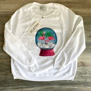 Wildfox White Globe Flamingos Sweater NEW NWT